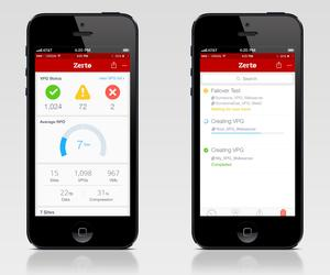 Zerto 5.0 mobile screen