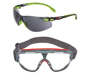 3m solust 1000 and goggle gear 500 series safety eyewearr with scotchgard anti fog