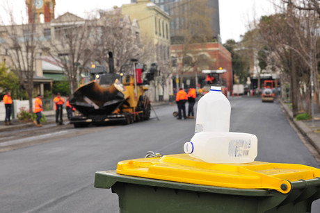 Alex fraser asphalt product uses 1500 wheelie bins worth of recycled plastic and glass 2
