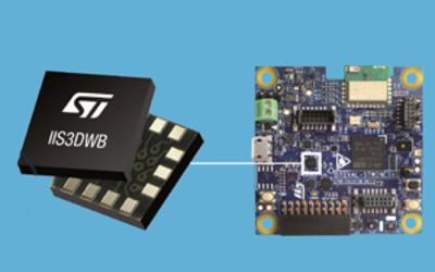 STMicroelectronics IIS3DWB vibration sensor and STEVAL-STWINKT1 multisensor evaluation kit