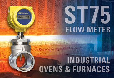 Thermal mass flow meter provides precise gas line control for ovens and furnaces